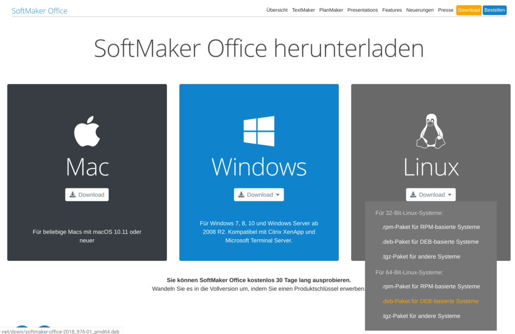 SoftMaker Office Linux herunterladen