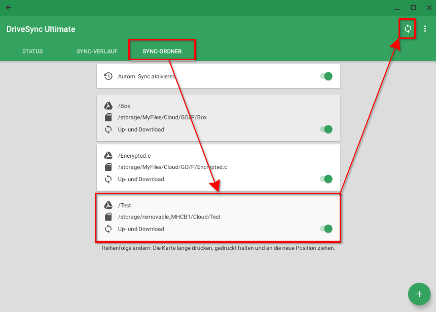 Alle für Autosync for Google Drive  unter Chrome OS konfiguriertes Ordnerpaare