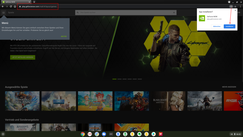 GeForce NOW-App unter Chrome OS installieren
